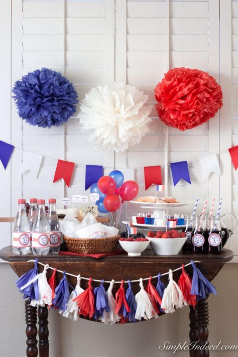 Blue White Red party printables, bastille day decor, of july decor, French decor, printable party decor - Blue White Red party printables bastille day decor of American Themed Party, French Themed Parties, Usa Party, Paris Party Decorations, 4th Of July Decorations, Fourth Of July Crafts For Kids, 4th Of July Party, July 4th, Red Party Themes