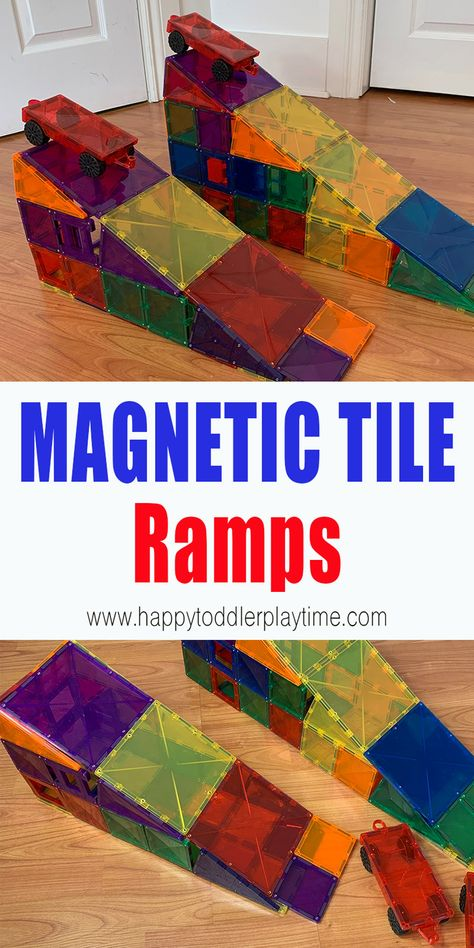 Create your own ramp using magnetic tiles with this easy and fun STEM activity perfect for preschoolers, kindergartners and older kids. Steam Activities, Preschool Learning Activities, Play Based Learning, Preschool Science, Preschool Classroom, Indoor Activities, Fun Learning, Preschool Activities, Kindergarten
