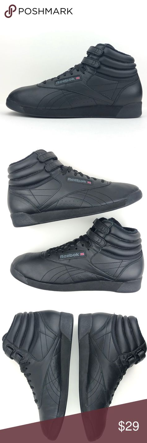 Reebok Freestyle Classic Black High Top Sneakers Reebok Vintage Freestyle  Classic Black Leather High Top Sneakers 45d29a8d4