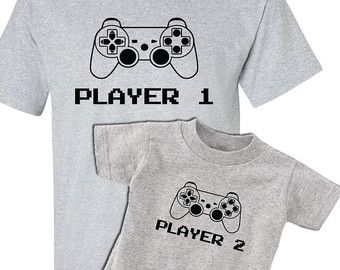 8f3fd3038 Video Game Player One Player Two Set New Dad by Popcultureapparel ...