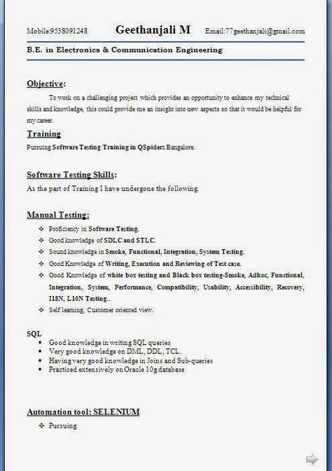 compilare curriculum vitae Sample Template example ofExcellent - software testing resume