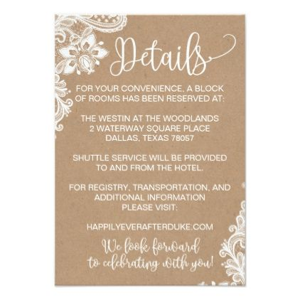 Kraft Lace And Lights Rustic Wedding Detail Card Zazzle Com Rustic Wedding Details Wedding Details Card Wedding Invitation Details Card