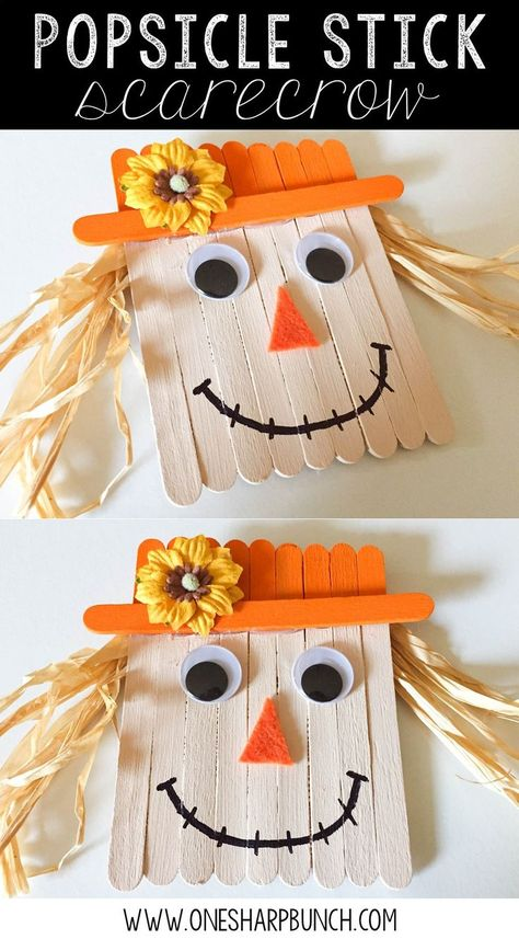 Cute and simple popsicle stick scarecrow craft for kids of all ages this fall. Perfect for a halloween or harvest party. #popsiclestickcrafts #artsandcraftsforkids #scarecrowcrafts