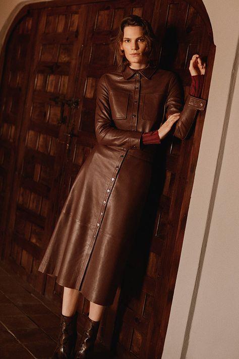 3cbd49d0e83f Jacqueline Brown Vegan Leather Shirt Dress by KITRI Studio | WISH LIST