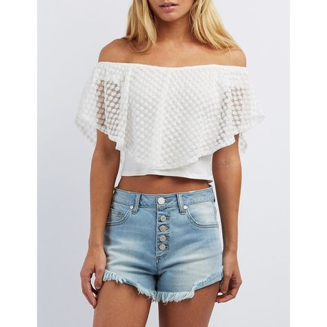 eaab4f2e84bf8 Charlotte Russe Lace Off-the-Shoulder Crop Top ( 19) ❤ liked on Polyvore  featuring tops