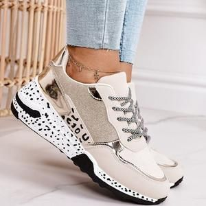 Ladies Round Neck Slip On Flat Wedge Sneakers Thick Sole Running Gym Comfy Shoes