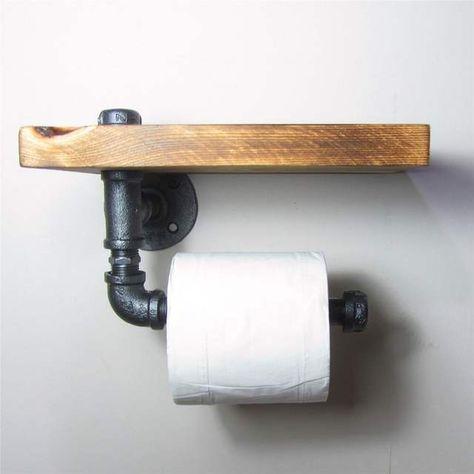 Online Shop Industriellen Stil Eisen Rohr Toilettenpapierhalter Roller Mit Holz Regal In 2020 Toilettenpapierhalterung Rustikale Toilettenpapierhalter Toilettenpapier