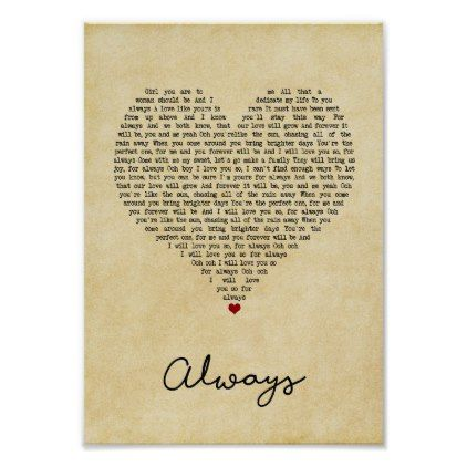 Always Vintage Heart Song Lyric Wall Art Print Zazzle Com Song Lyric Print Lyric Prints Lyric Poster