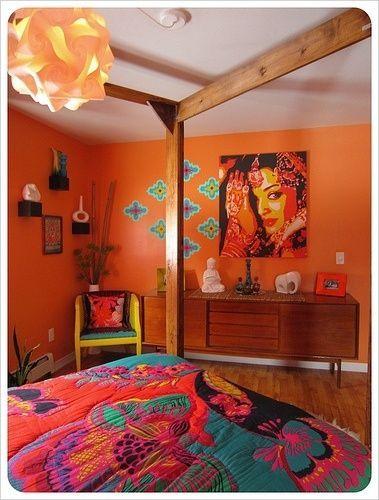 Bohemian Bedroom In Orange Cool Rooms Orange Bedroom Walls Bedroom Orange Orange Rooms