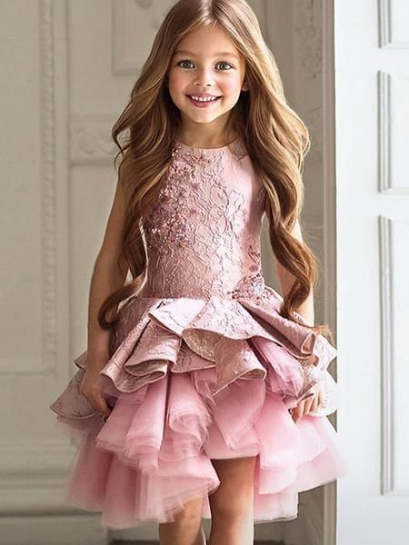 Girls Adorable Princess Dresses Toddler Baby Ruffles Long Sleeve Pink Floral Pageant Skirt