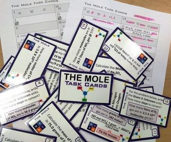 The Mole ~ 28 Task Cards for Chemistry ~ Conversions & Formulas