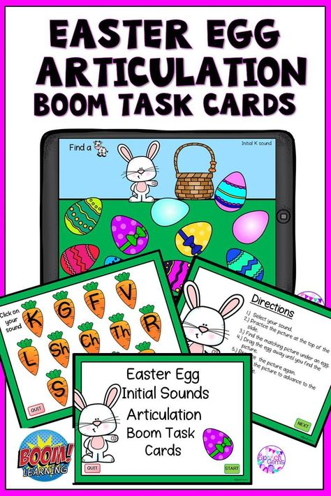 50% off for 48 hours Boom Cards Easter Articulation Activity