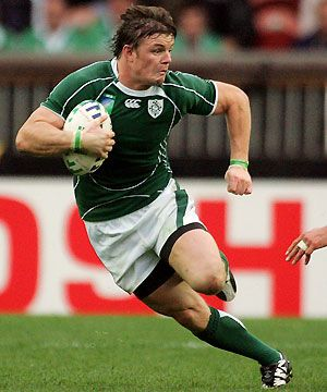 I love watching rugby on the telly with my Dad. This is my favourite player, Brian O'Driscoll. He plays for Leinster, and also for Ireland. I can only dream of having such power, such control over my own body, such speed and such grace.