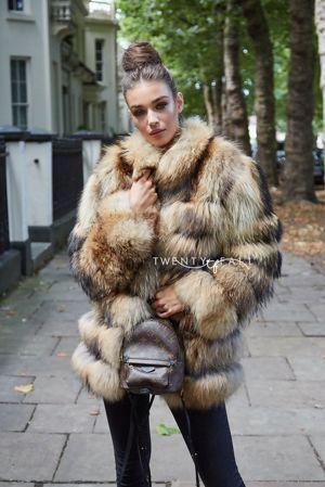 Natural Raccoon Fur 5 Ring Coat with