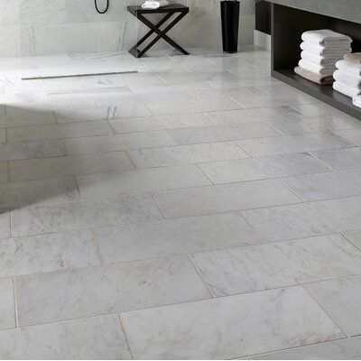Carrara 12 X 24 Beveled Natural Stone Marble Look Wall Floor Tile In 2020 Flooring Tile Floor Marble Tile Floor