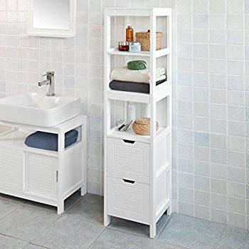 Haotian Frg126 W White Floor Standing Tall Bathroom Storage Cabinet With 3 Shelve Tall Bathroom Storage Cabinet Tall Bathroom Storage Bathroom Storage Cabinet
