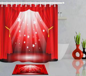 Red Stage Curtain Cinema Bathroom Mat Waterproof Fabric Shower