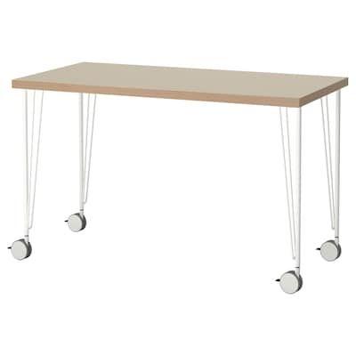 Linnmon Krille Table Blanc Noir 47 1 4x23 5 8 120x60 Cm Ikea Plateau De Table Panneaux De Particules
