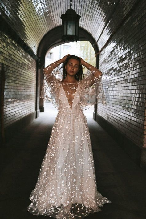 Counting Stars Boho Wedding Dress by Boom Blush. Unique Vintage Bohemian Backless Gown 2019 with Sleeves, Unique Lace and A Line Skirt Counting Stars Boho Brautkleid von Boom Blush. Boho Wedding Dress With Sleeves, Boho Dress, Lace Dress, Dresses With Sleeves, Counting Stars, Wedding Dresses 2018, Bridal Dresses, Bridesmaid Dresses, Maxi Dresses