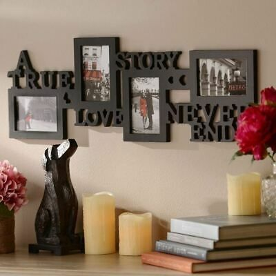 Details About Black Photo Collage Picture Frame True Love Story Never Ends Plastic 10 X 30 In Collage Picture Frames Home Decor Pictures Collage Frames