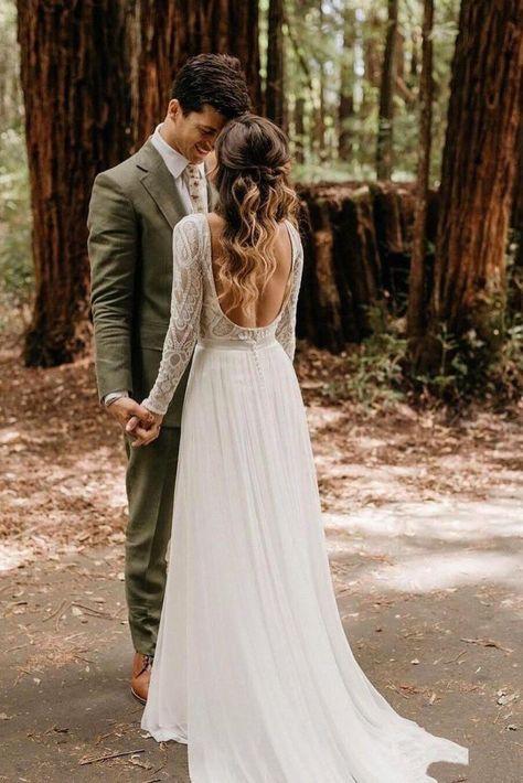 Elegant Scoop Long Sleeve Chiffon Wedding Dresses with Lace Backless Ivory Bridal Dresses W1042,  #abitodasposaboho #Backless #bridal #chiffon #Dresses #Elegant #Ivory #Lace #Long #Scoop #sleeve #W1042 #Wedding