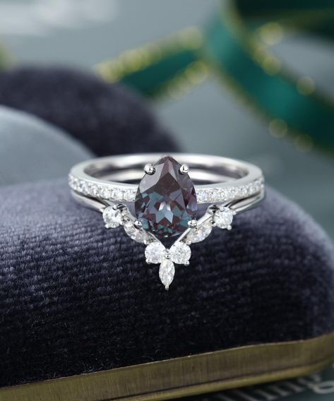Pear shaped Alexandrite engagement ring set vintage engagement ring white gold Moissanite Marquise cut wedding rings women promise gift Source by Alexandrite Engagement Ring, Morganite Engagement, Rose Gold Engagement Ring, Engagement Ring Settings, Vintage Engagement Rings, Diamond Wedding Bands, Wedding Ring Set, Solitaire Engagement, Alexandrite Ring