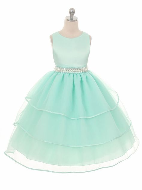 GIRLS SIXTIES SHIFT STYLE MINT PEARL TRIM SPECIAL OCCASION PARTY DRESS