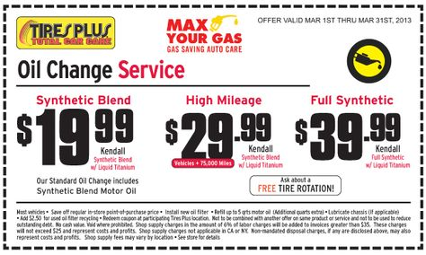 Tires Plus 19 99 39 99 Oil Change Printable Coupon Coupons