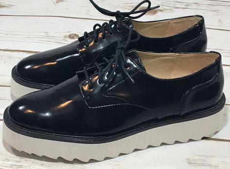 NEW Zara Womens Navy Blue Platform Oxford Lace Up Shoes Size