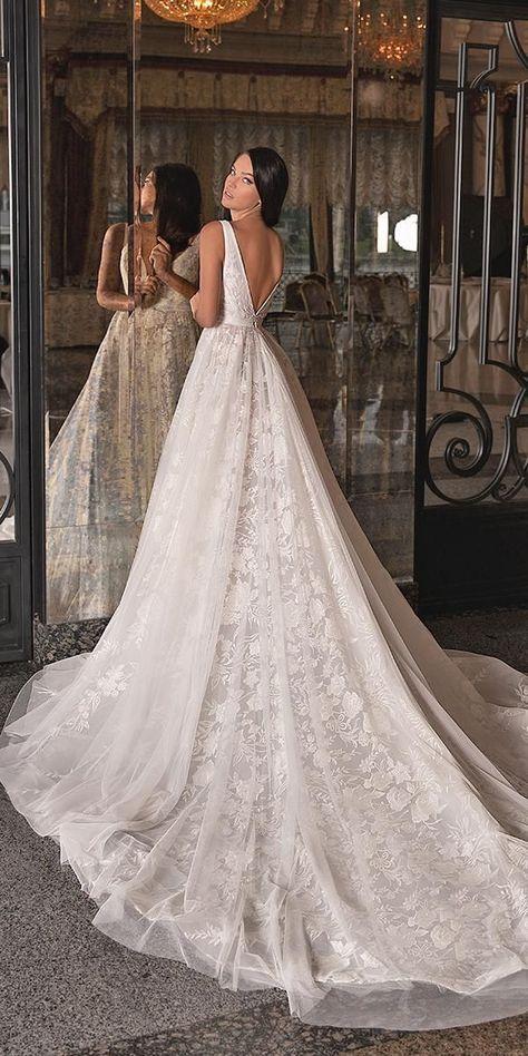 30 Glorious A-Line Wedding Dresses ❤ a line wedding dresses v back with long train sleveless wona ❤ #weddingdresses