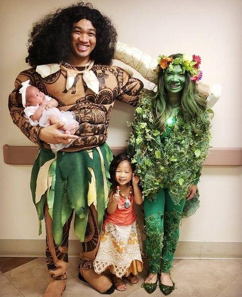 This years family costumes: Moana! Moana, Maui, Te'fiti, and even a baby Pua.