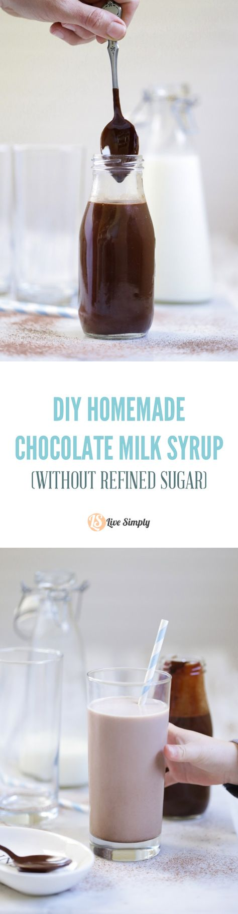 Finally, a chocolate milk syrup I can feel good about serving to my kids. This homemade chocolate milk syrup is made without any refined sugar or artificial ingredients. Plus, it last for months in the fridge. And it only takes 5 minutes to make!