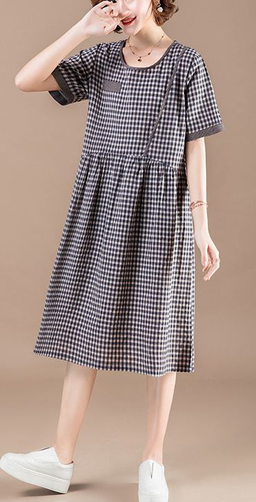 01c34fc2eef DIY patchwork pockets Cotton quilting dresses stylish Shape blue Plaid  baggy Dress Summer