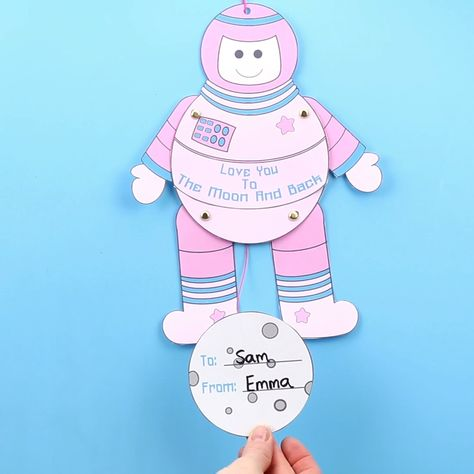Kids will love this printable Astronaut Puppet Craft! Pull the moon and watch the spaceman craft move! This space craft is great to give as Valentine cards or Father's Day cards with space themed messages. (3 printable versions for you to choose from - black and white, pink and green) #kidscraftroom #kidscraftroom #valentinescards #valentinecrafts #spacecraftsforkids #spaceman #astronaut #puppets #papercrafts #printables #kidscrafts via @KidsCraftRoom
