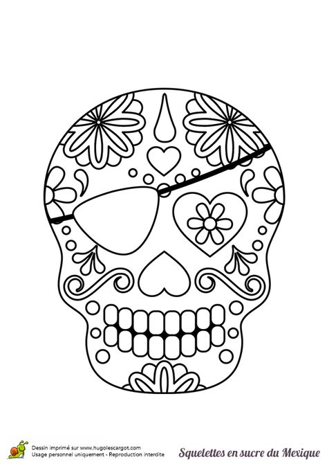 Coloriage squelette sucre coeur et pirate sur Hugolescargot.com - Hugolescargot.com