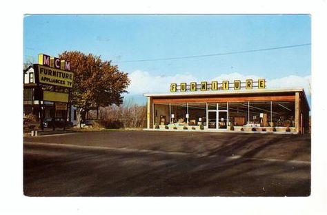 ca 1950s MCM FURNITURE CO. LEOMINSTER MA Adv. Postcard ROUTE 12 FITCHBURG LINE