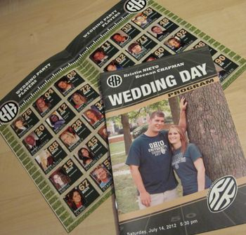 Our starting lineup pages using photos of the groomsmen and bridesmaids is very popular for our 8-page and 12-page Football Themed Wedding Programs.  Order Yours Today!  #footballwedding #stwdotcom