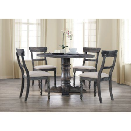 Best Master Furniture Selena Round 5 Piece Dinette Set Weathered