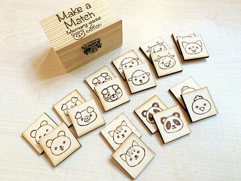 · Make a match animals face edition, wooden memory game, kids wood game, handmade engraving. A timeless game that every child loves to do! This little Make a Match Memory Game box is compact enough to… Indoor Activities For Kids, Games For Toddlers, Toddler Games, Summer Activities, Family Activities, Outdoor Activities, Games Box, Diy Games, Toddler Activity Bags