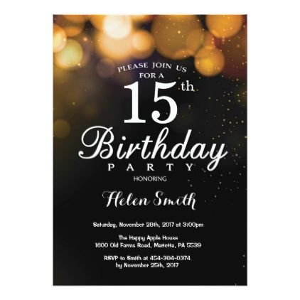 gold glitter 15th birthday invitation