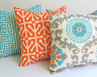 orange and blue pillows for living room | Home Ideas - Decorating \u0026 Remodeling | Pinterest | Blue pillows Orange and Pillows