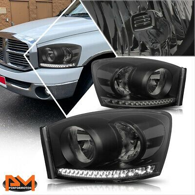 For 06 09 Dodge Ram Truck Led Drl Strip Headlight Lamp Smoked Housing Clear Side In 2020 Dodge Trucks Ram Ram Trucks Dodge Ram