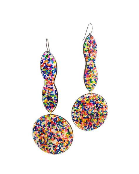 """Glitterlimes Fruit Jewelry (@glitterlimes) posted on Instagram: """"New shapes for drops . . . . . . #glitterlimes #dangleearrings #statementearrings #rainbowearrings #rainbowjewelry #rainbowsprinkles…"""" • Feb 21, 2021 at 9:00pm UTC"""