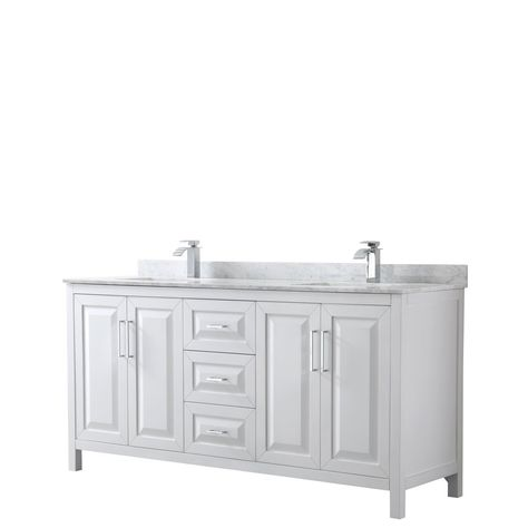 Wyndham Collection Daria 72 Inch Double Bathroom Vanity In White