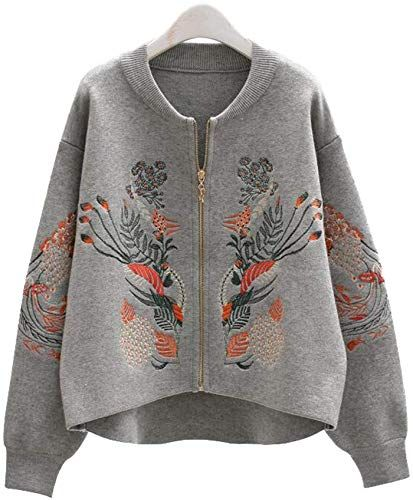 Women/'s Loose Embroidery Floral Knitting Parka Sweater Outwear Cardigan Coat Sz