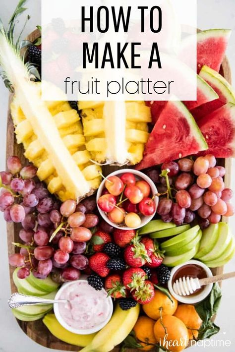 Learn how to make a fresh fruit platter with these easy tips. Perfect for entertaining a crowd or enjoying with your family! #fruit #fruitplatter #fruitrecipes #entertaining #entertainingideas #appetizers #easyappetizers #recipes #iheartnaptime