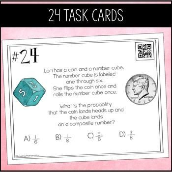 Probability Of Simple And Compound Events By Amazing Mathematics Teachers Pay Teachers Task Cards Probability Task