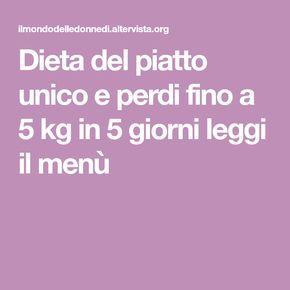 dieta del piatto unico menu