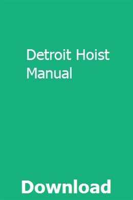 [SCHEMATICS_48IU]  Detroit Hoist Manual | Repair manuals, Chilton repair manual, Repair | Detroit Hoist Wiring Diagram |  | Pinterest