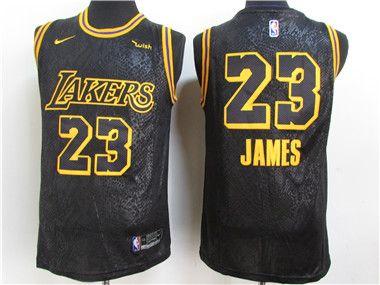 Lakers 23 Lebron James Black 2021 City Edition Swingman Jersey